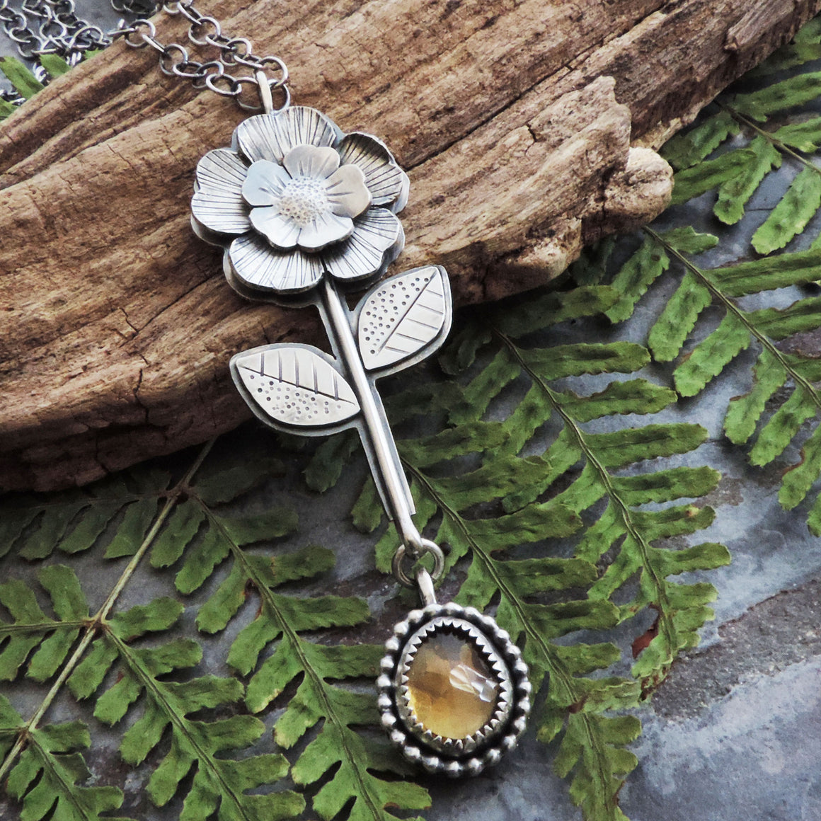 Single Stemmed Flower Pendant with Citrine Gemstone Drop