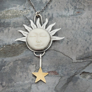 Celestial Moon Face with Sun Rays and Star Necklace