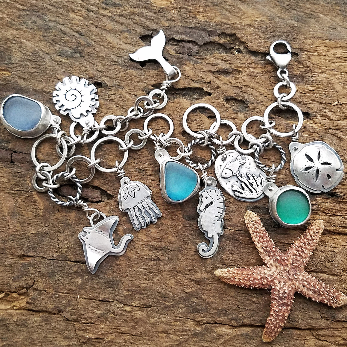 Sea Glass Ocean Dreams Charm Bracelet