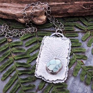 Silver Organic Botanical Imprint Necklace with Poseidon Variscite