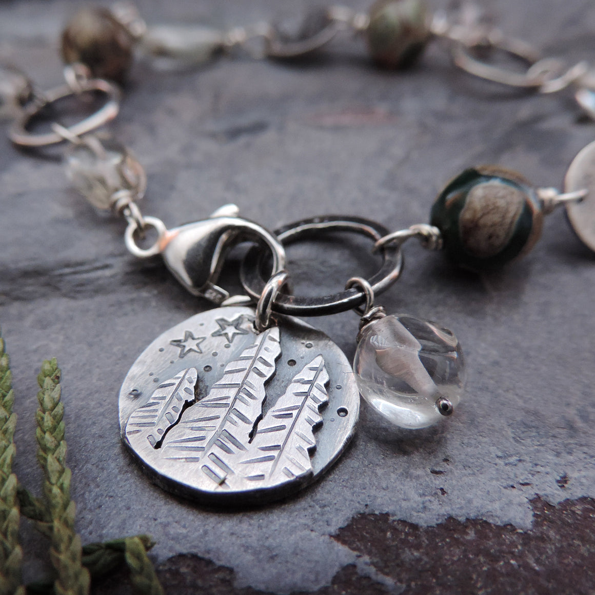 Sterling Silver Pine Tree Agate and Prasiolite Bracelet