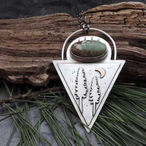 Triangle Pine Tree Treasure Mountain Turquoise Necklace
