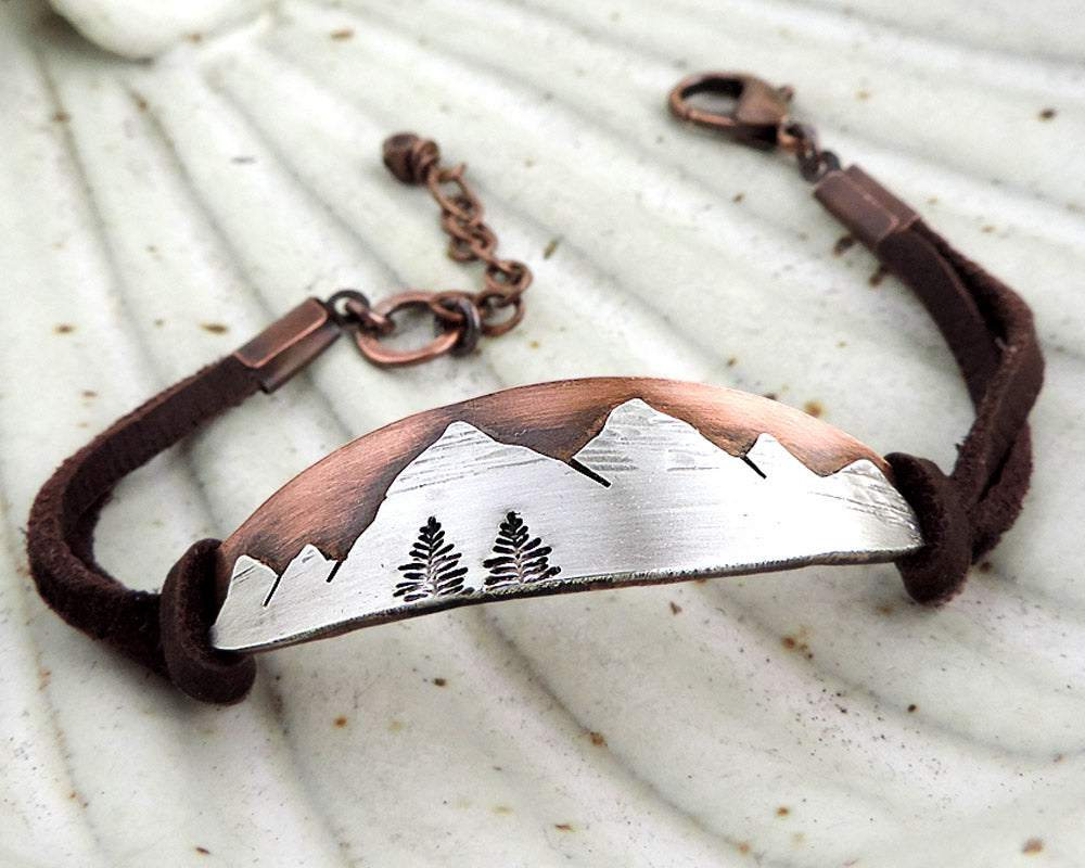 Custom Order - Oval Copper and Sterling Silver Mountain Range Bracelet CUFF