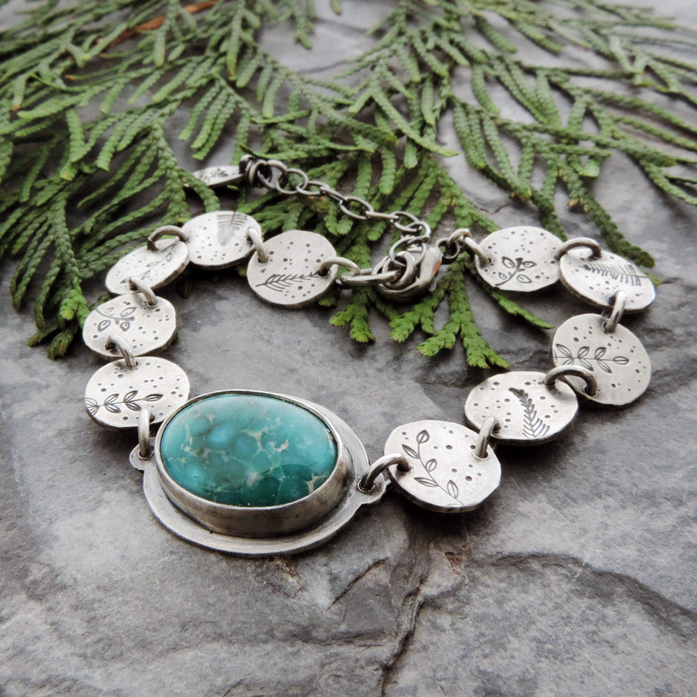 Botanical Disc Bracelet with Whitewater Turquoise