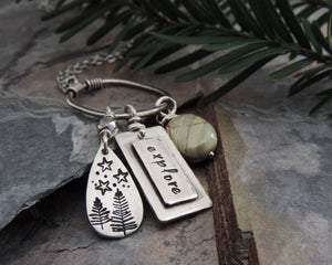 nature adventure inspired organic charm necklace