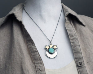 Crescent Moon and Stars Turquoise Necklace
