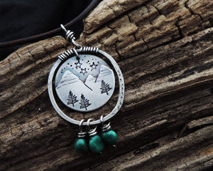 mountains pine trees stars turquoise pendant necklace