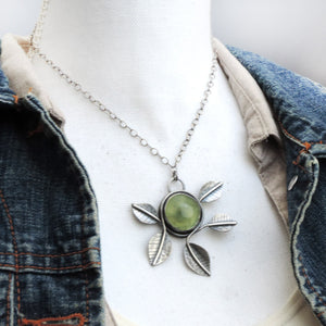 Abstract Prehnite Necklace with Five Leaves