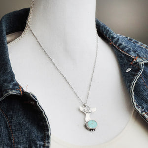 Whale's Tail Turquoise Pendant Necklace