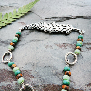Fern Choker Necklace with Czech Glass Beads