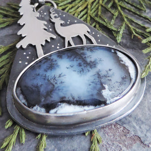 Deer and Tall Pine Tree Dendritic Opal Necklace