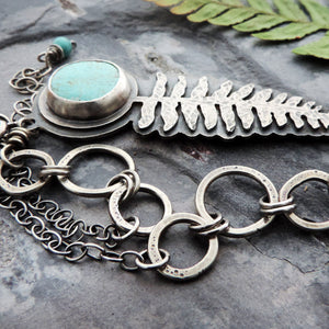 organic fern jewelry with turquoise