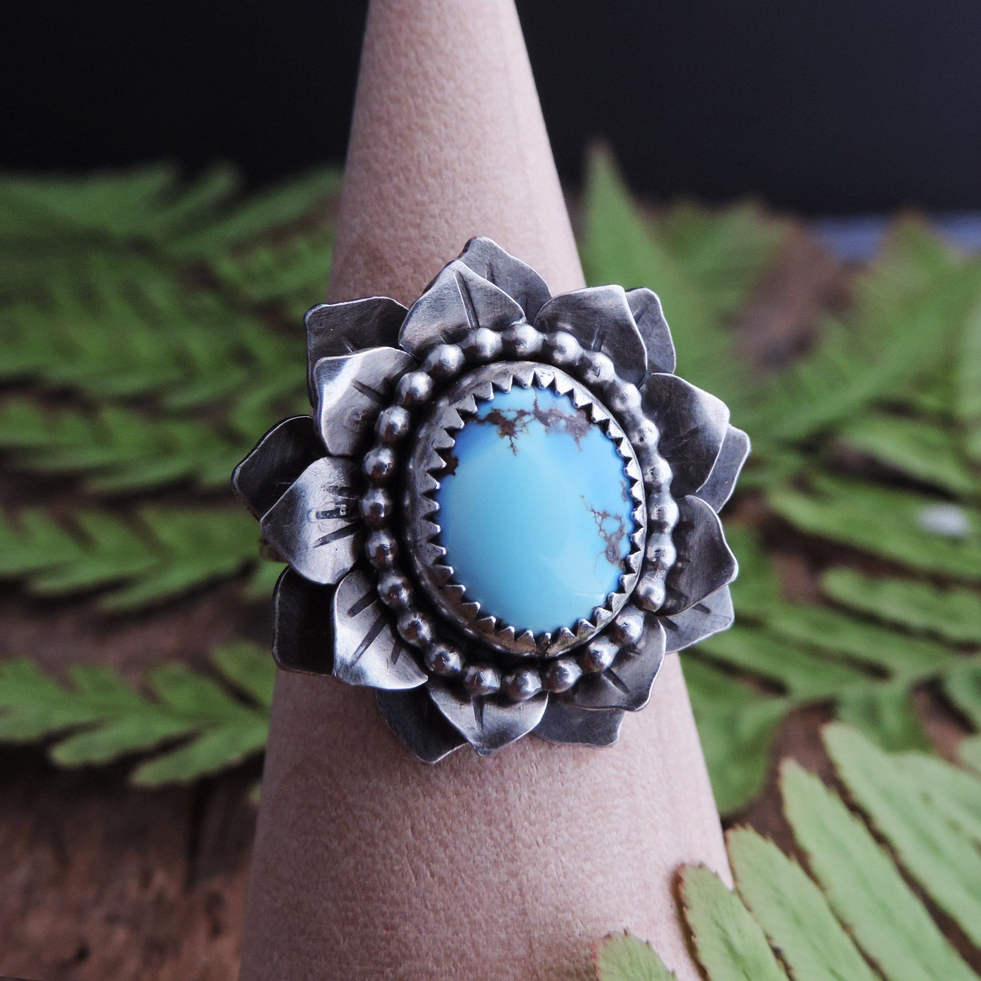 ON SALE Golden Hills lavender turquoise ring handmade in sterling silver 925 with a beautiful stone