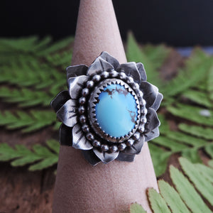 layered petals flower ring with turquoise