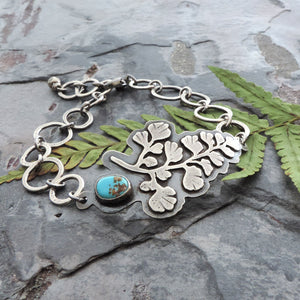 sterling silver maiden hair fern bracelet with turquoise stone