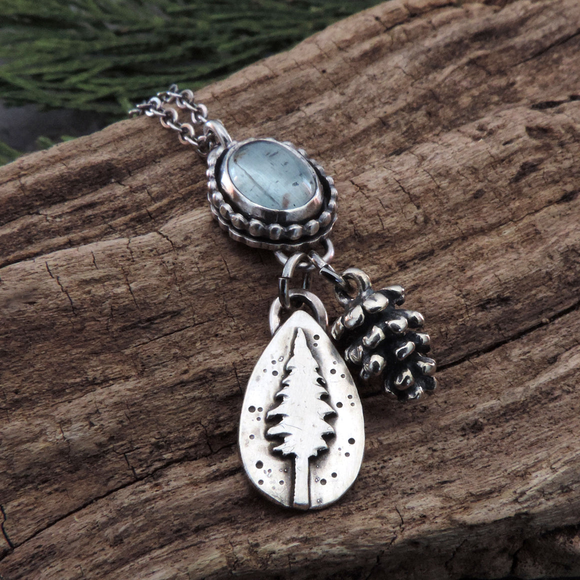 Moss Aquamarine Necklace with Pine Tree and Pine Cone