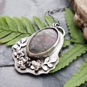 Indonesian Moss Agate Floral Swag Pendant Necklace