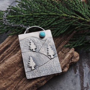 handmade whimsical mountain necklace