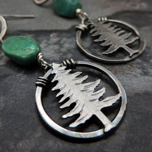 Turquoise Nugget Pine Tree Earrings