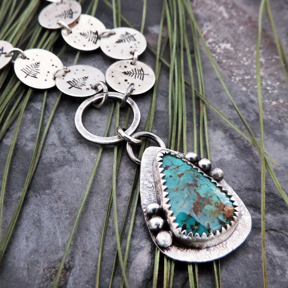 turquoise pendant with pine tree chain