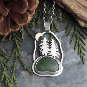 Small Pine Tree Necklace with Crescent Moon and Green Sea Glass