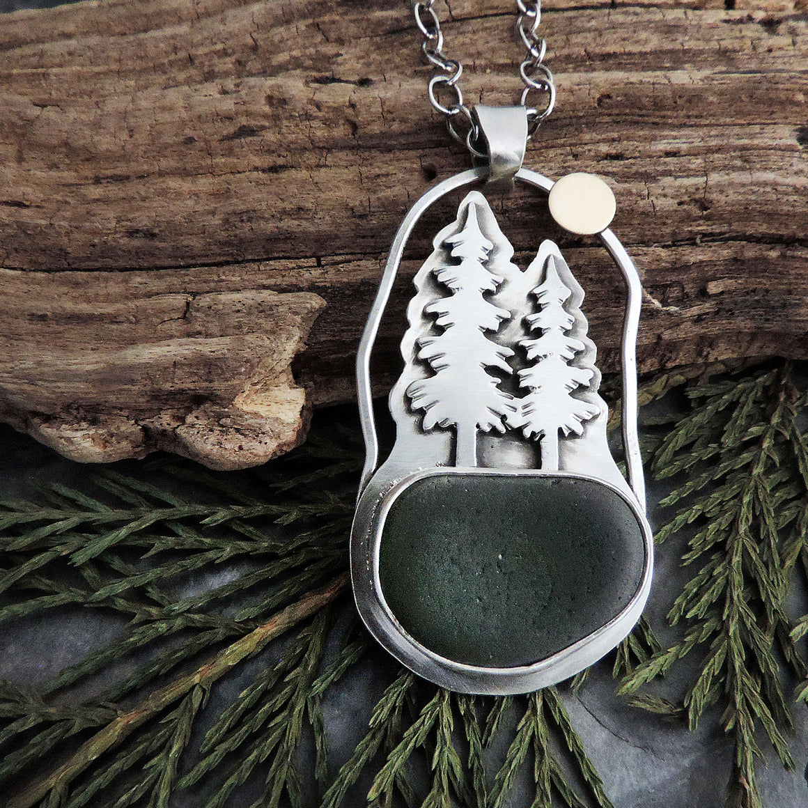Pine Tree Necklace with Full Moon and Green Sea Glass