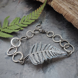 hand fabricated sterling silver fern bracelet