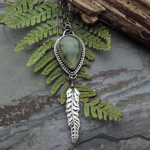 Fern Necklace with Green Prehnite Teardrop