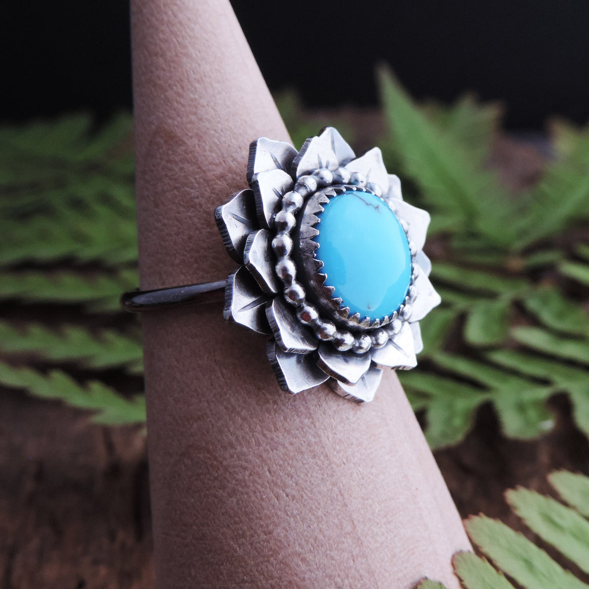 Flower Ring with Prince Turquoise Center - Size 6.5