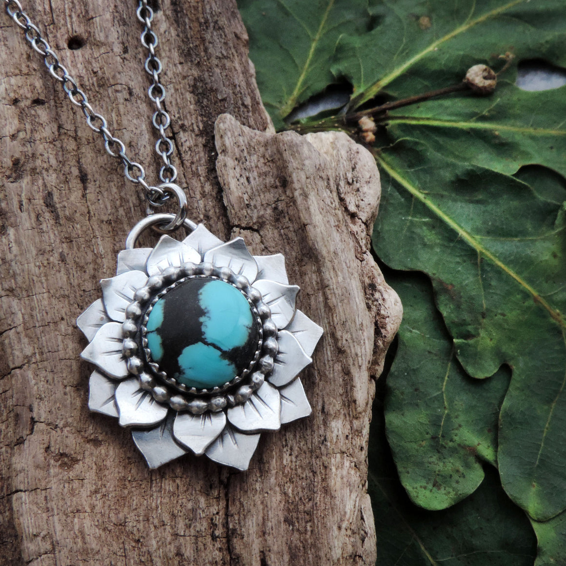 Small Flower Pendant with Hubei Turquoise Center