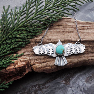 Soaring Hawk Turquoise Mountain Necklace