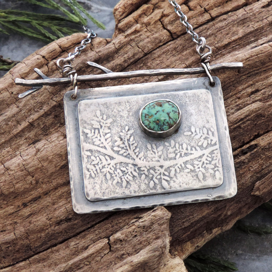 organic sterling silver botanical necklace with turquoise accent