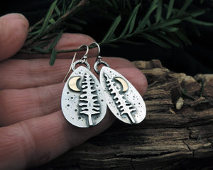 nature earrings pine trees and moon