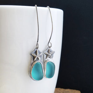 Starfish Aqua Blue Seaglass Earrings