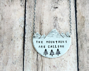 Sterling Silver The Mountains are Calling Necklace