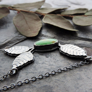 Turquoise Mountain Necklace with Trio of Leaves