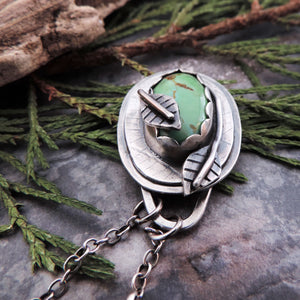 Green Turquoise Mountain Pendant Wrapped with Leaves