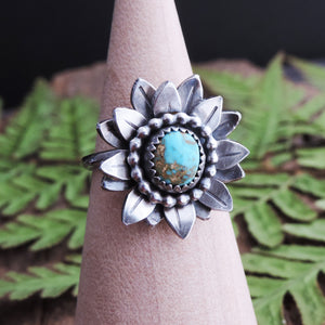 handmade sterling silver turquoise flower ring