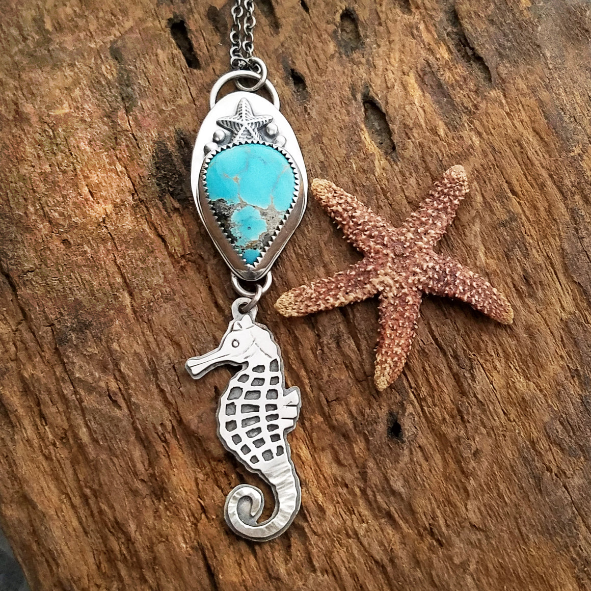seahorse pendant with sierra nevada turquoise