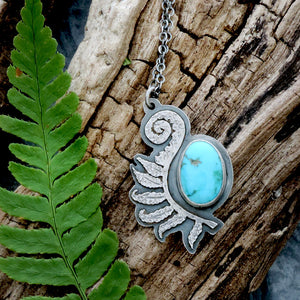 sterling silver fern frond with turquoise gemstone
