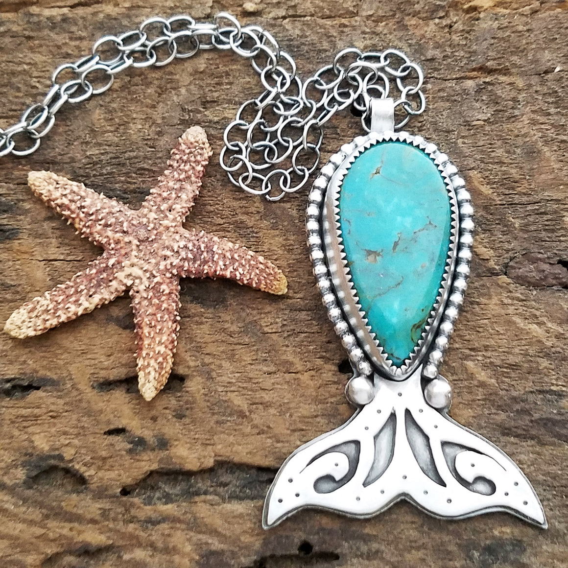 Whale's Tail Necklace with Campitos Turquoise