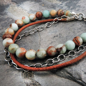 aqua terra jasper leather and sterling silver bracelet
