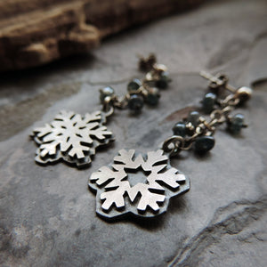 Silver Snowflake and Blue Kyanite Earrings