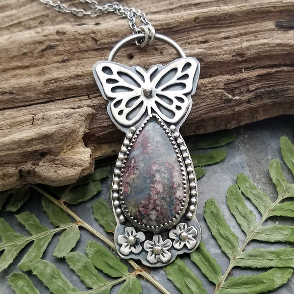 Indonesian Moss agate in Sterling Silver with Pegasus!