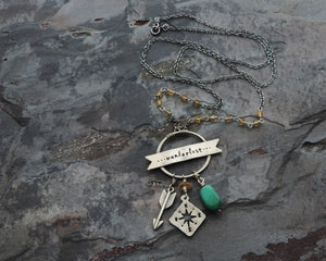 travel inspired wanderlust charm necklace with compass