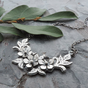 sterling silver cherry blossom laurel necklace