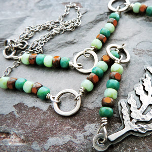 earthy beaded fern necklace