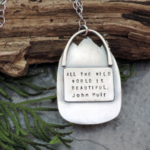 john muir quote mountain gemstone necklace
