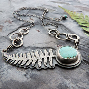 botanical nature inspired fern pendant with turquoise
