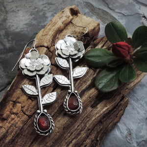 Stemmed Flower Earrings with Red Garnet Stones